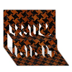 Houndstooth2 Black Marble & Brown Burl Wood You Did It 3d Greeting Card (7x5)