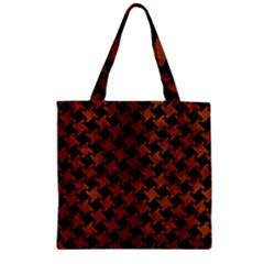 Houndstooth2 Black Marble & Brown Burl Wood Zipper Grocery Tote Bag by trendistuff