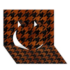 Houndstooth1 Black Marble & Brown Burl Wood Heart 3d Greeting Card (7x5)
