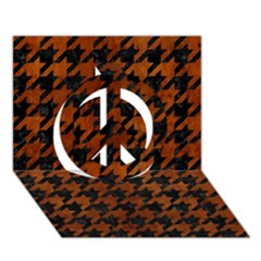 Houndstooth1 Black Marble & Brown Burl Wood Peace Sign 3d Greeting Card (7x5)