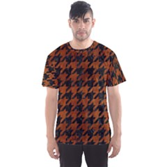 Houndstooth1 Black Marble & Brown Burl Wood Men s Sports Mesh Tee by trendistuff