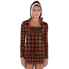 Houndstooth1 Black Marble & Brown Burl Wood Long Sleeve Hooded T Shirt