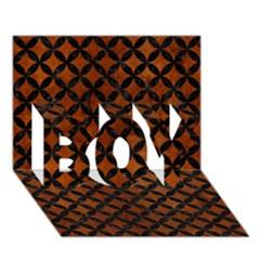 Circles3 Black Marble & Brown Burl Wood (r) Boy 3d Greeting Card (7x5) by trendistuff