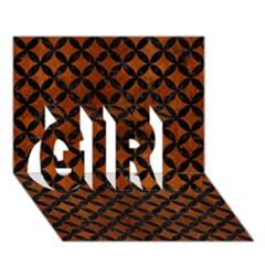 Circles3 Black Marble & Brown Burl Wood (r) Girl 3d Greeting Card (7x5) by trendistuff