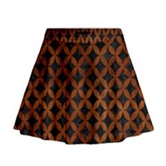 Circles3 Black Marble & Brown Burl Wood Mini Flare Skirt