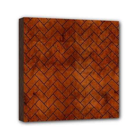 Brick2 Black Marble & Brown Burl Wood (r) Mini Canvas 6  X 6  (stretched) by trendistuff
