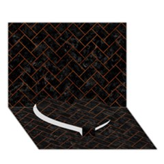 Brick2 Black Marble & Brown Burl Wood Heart Bottom 3d Greeting Card (7x5) by trendistuff