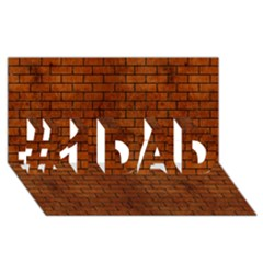 Brick1 Black Marble & Brown Burl Wood (r) #1 Dad 3d Greeting Card (8x4)