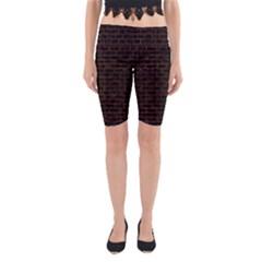 Brick1 Black Marble & Brown Burl Wood Yoga Cropped Leggings by trendistuff