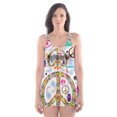 Peace Collage Skater Dress Swimsuit by StuffOrSomething