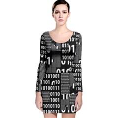 Beautiful Binary Long Sleeve Velvet Bodycon Dress