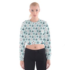 Nautical Elements Pattern Women s Cropped Sweatshirt by TastefulDesigns