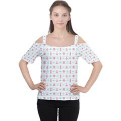 Seamless Nautical Pattern Women s Cutout Shoulder Tee by TastefulDesigns