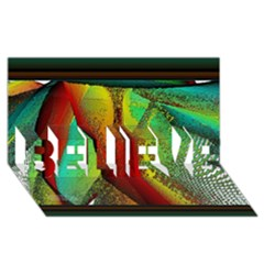 Stained Glass Window Believe 3d Greeting Card (8x4)