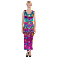 Freedom Peace Flowers Raining In Rainbows Fitted Maxi Dress by pepitasart