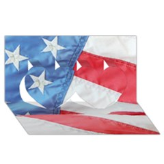 Folded American Flag Twin Hearts 3d Greeting Card (8x4)  by StuffOrSomething