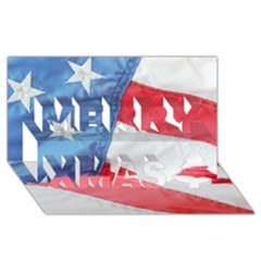 Folded American Flag Merry Xmas 3d Greeting Card (8x4)