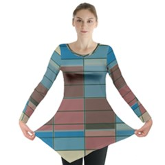 Rectangles In Retro Colors Pattern                      Long Sleeve Tunic by LalyLauraFLM