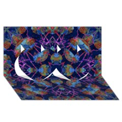 Ornate Mosaic Twin Hearts 3d Greeting Card (8x4)  by dflcprints