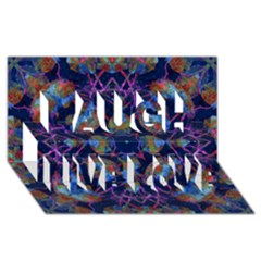 Ornate Mosaic Laugh Live Love 3d Greeting Card (8x4)  by dflcprints