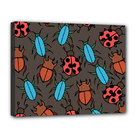 Beetles And Ladybug Pattern Bug Lover  Canvas 14  X 11