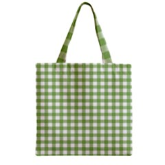 Avocado Green Gingham Classic Traditional Pattern Zipper Grocery Tote Bag by CircusValleyMall
