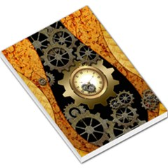 Steampunk Golden Design With Clocks And Gears Large Memo Pads