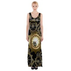 Steampunk Golden Design With Clocks And Gears Maxi Thigh Split Dress by FantasyWorld7