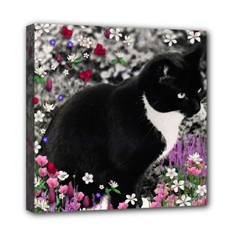 Freckles In Flowers Ii, Black White Tux Cat Mini Canvas 8  X 8  by DianeClancy