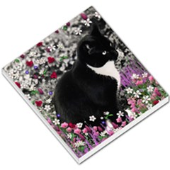 Freckles In Flowers Ii, Black White Tux Cat Small Memo Pads by DianeClancy