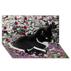 Freckles In Flowers Ii, Black White Tux Cat Twin Heart Bottom 3d Greeting Card (8x4)