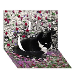 Freckles In Flowers Ii, Black White Tux Cat Apple 3d Greeting Card (7x5)  by DianeClancy