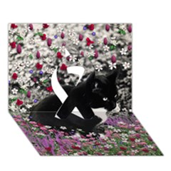 Freckles In Flowers Ii, Black White Tux Cat Ribbon 3d Greeting Card (7x5)