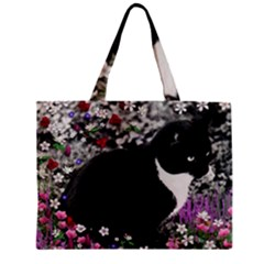 Freckles In Flowers Ii, Black White Tux Cat Mini Tote Bag by DianeClancy