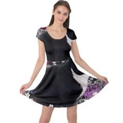 Freckles In Flowers Ii, Black White Tux Cat Cap Sleeve Dresses by DianeClancy