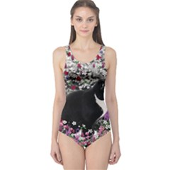 Freckles In Flowers Ii, Black White Tux Cat One Piece Swimsuit by DianeClancy