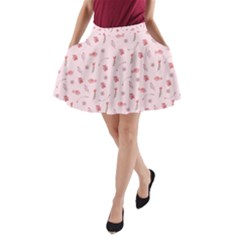 Cute Pink Birds And Flowers Pattern A Line Pocket Skirt by TastefulDesigns