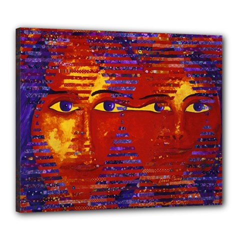 Conundrum Iii, Abstract Purple & Orange Goddess Canvas 24  X 20  by DianeClancy