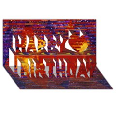 Conundrum Iii, Abstract Purple & Orange Goddess Happy Birthday 3d Greeting Card (8x4)  by DianeClancy