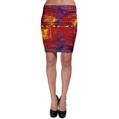 Conundrum Iii, Abstract Purple & Orange Goddess Bodycon Skirts by DianeClancy