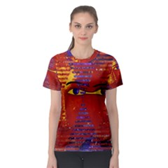 Conundrum Iii, Abstract Purple & Orange Goddess Women s Sport Mesh Tee by DianeClancy