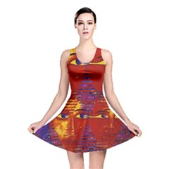 Conundrum Iii, Abstract Purple & Orange Goddess Reversible Skater Dress by DianeClancy
