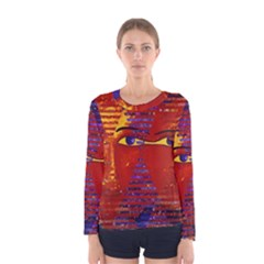Conundrum Iii, Abstract Purple & Orange Goddess Women s Long Sleeve Tee by DianeClancy