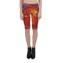 Conundrum Iii, Abstract Purple & Orange Goddess Cropped Leggings  by DianeClancy