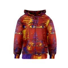 Conundrum Iii, Abstract Purple & Orange Goddess Kids  Zipper Hoodie by DianeClancy
