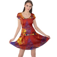 Conundrum Iii, Abstract Purple & Orange Goddess Cap Sleeve Dresses by DianeClancy