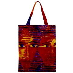 Conundrum Iii, Abstract Purple & Orange Goddess Zipper Classic Tote Bag by DianeClancy