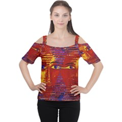 Conundrum Iii, Abstract Purple & Orange Goddess Women s Cutout Shoulder Tee by DianeClancy