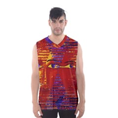 Conundrum Iii, Abstract Purple & Orange Goddess Men s Basketball Tank Top by DianeClancy