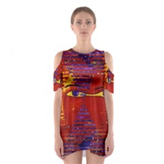 Conundrum Iii, Abstract Purple & Orange Goddess Cutout Shoulder Dress by DianeClancy